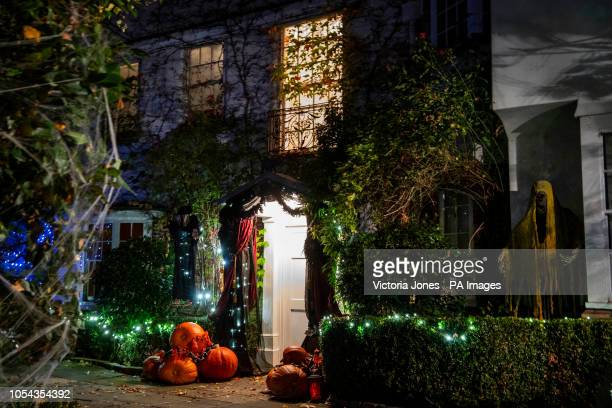 Halloween decorations outside Jonathan Ross's house in north London, ahead of the TV presenter's annual party.