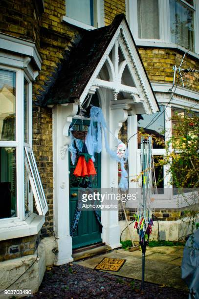 halloween decorations - scarecrow faces stock photos and pictures