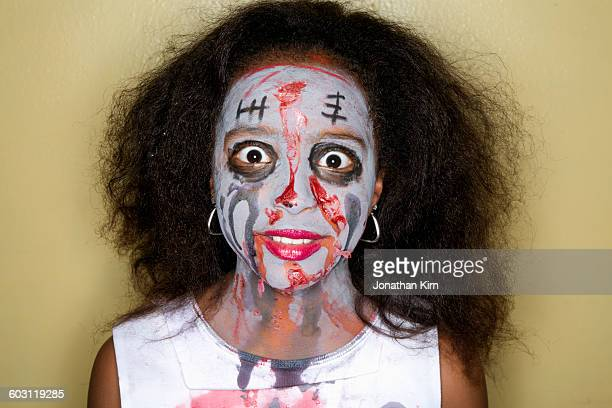 halloween face. - ugly girl stock photos and pictures