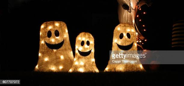 halloween ghost decoration - halloween decoration stock pictures, royalty-free photos & images