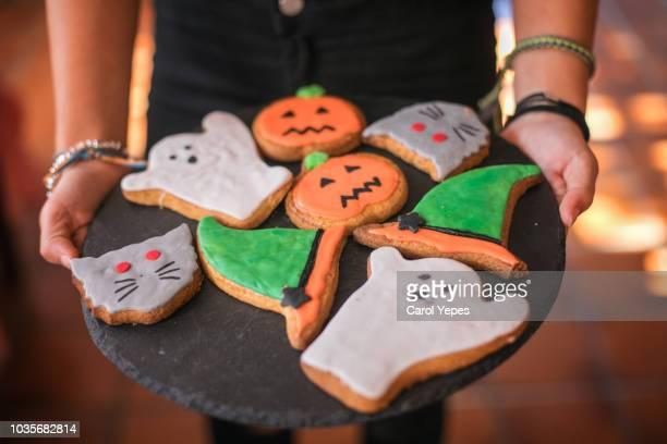 halloween handmade cookies - halloween candy stock photos and pictures