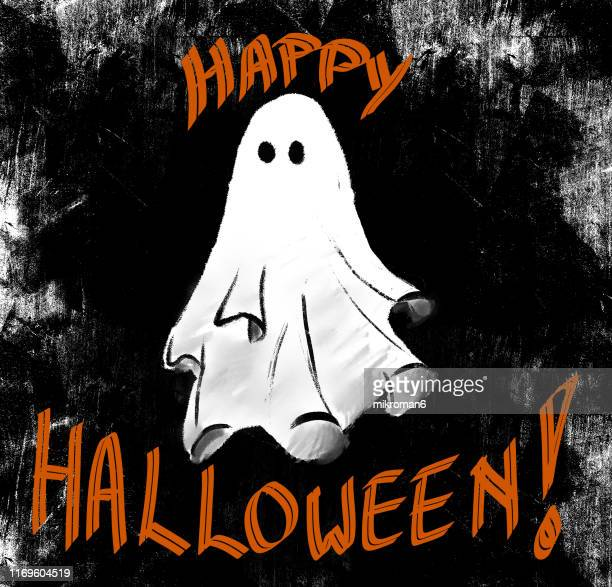 halloween illustration of a ghost - cartoon halloween stock photos and pictures