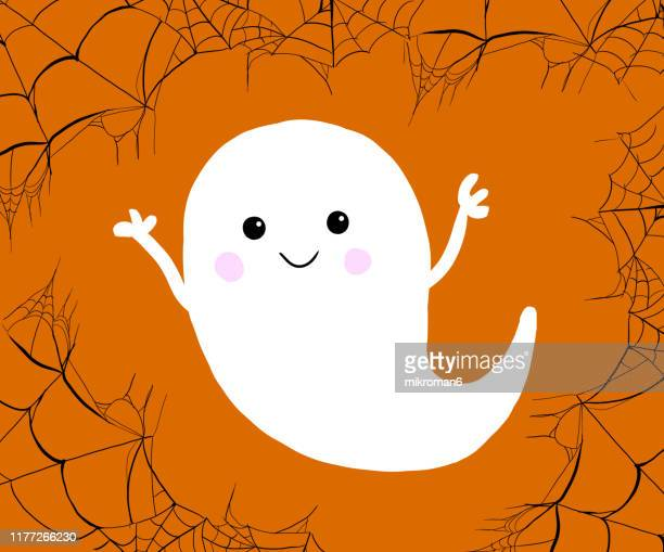 halloween illustration of ghost and cobwebs - cartoon halloween stock photos and pictures