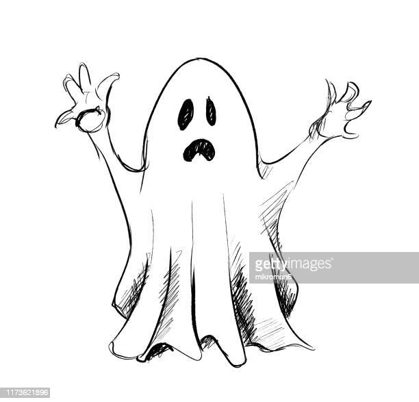 halloween illustration of ghost - cartoon halloween stock photos and pictures
