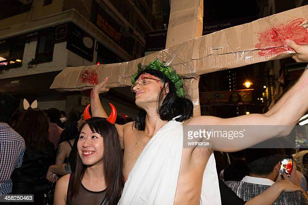 halloween in hong kong - smiling jesus stock pictures, royalty-free photos & images