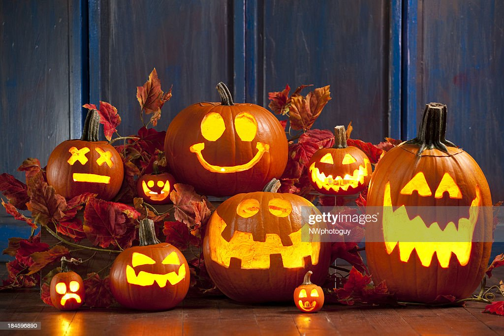 Halloween Jack-o-Lantern Pumpkins : Stock Photo