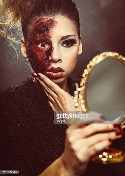 halloween living dead beauty - zombie makeup stock photos and pictures