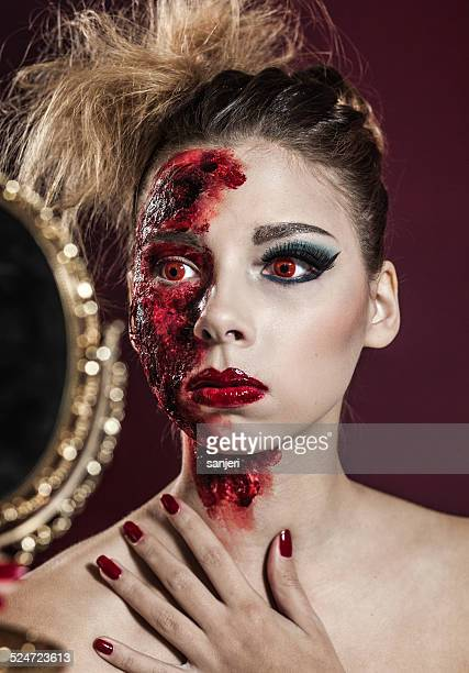 halloween living dead girl - zombie makeup stock photos and pictures