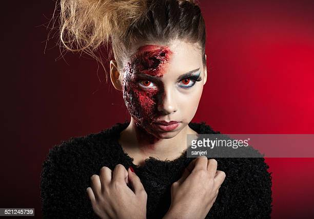 halloween living dead - zombie makeup stock photos and pictures