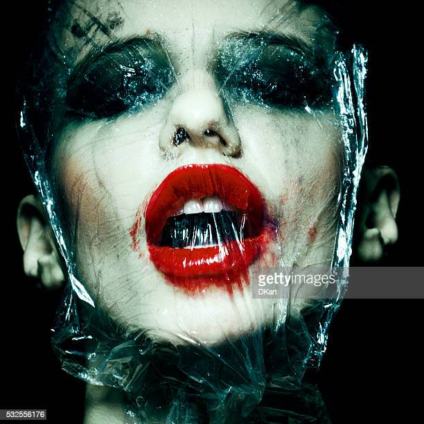 halloween makeup - damp lips stock photos and pictures
