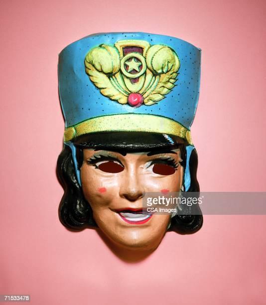 halloween mask of a majorette - masked musicians stock-fotos und bilder