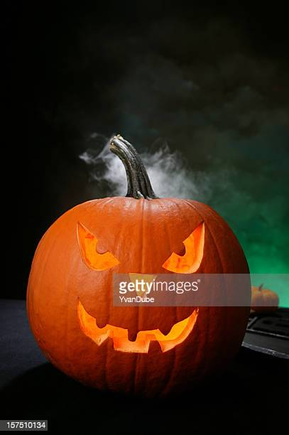 halloween night - ugly pumpkins stock photos and pictures