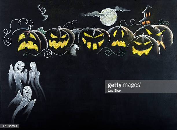 halloween night scene.copy space. - cartoon halloween stock photos and pictures