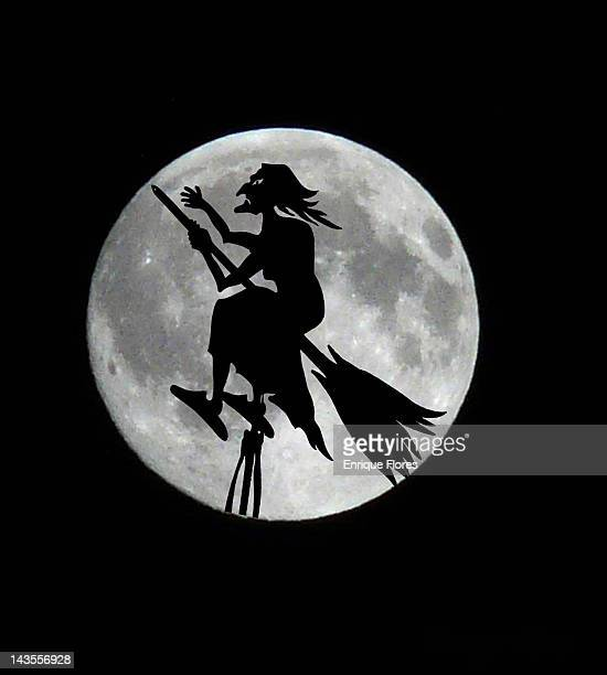 halloween - witch flying on broom stock photos and pictures