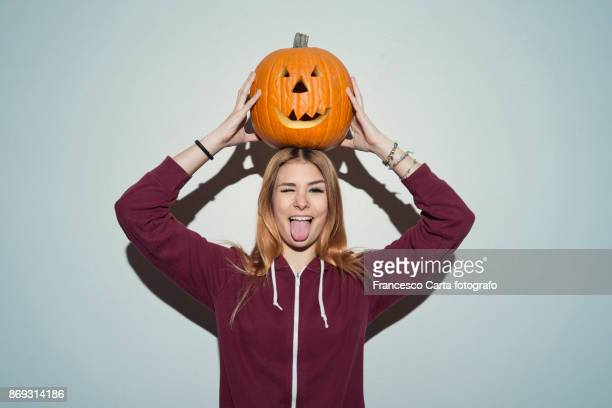 halloween portrait - woman long tongue stock photos and pictures
