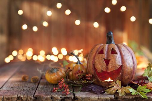 Halloween Pumpkin against an old wood background 1032952614