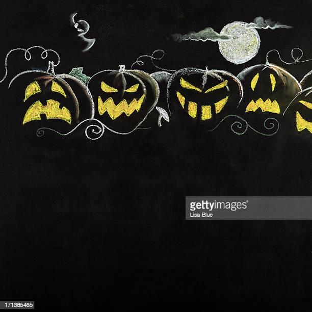 Halloween Pumpkin Border.Copy Space.