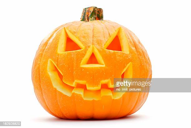 a halloween pumpkin with its face carved out - scary pumpkin faces stock photos and pictures
