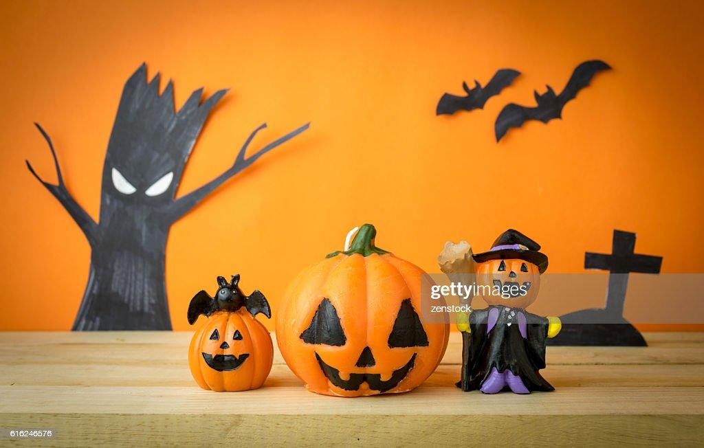 Halloween Pumpkins on wooden table : Stock Photo