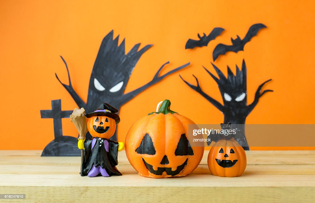 Halloween Pumpkins on wooden table : Stock Photo