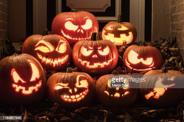 halloween pumpkins - halloween stock pictures, royalty-free photos & images