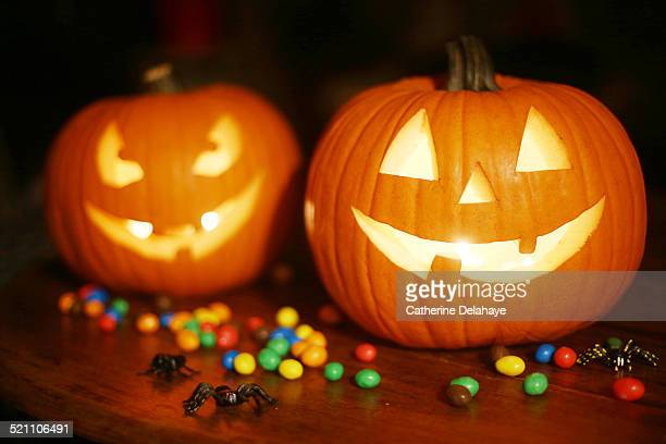 halloween pumpkins - halloween candy stock photos and pictures