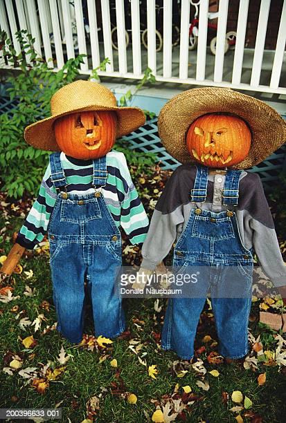 halloween scarecrows in garden - scarecrow faces stock photos and pictures