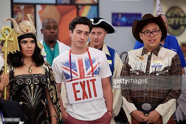 SUPERSTORE Halloween Theft Episode 207 Pictured America Ferrera as Amy Ben Feldman as Jonah Nico Santos as Mateo