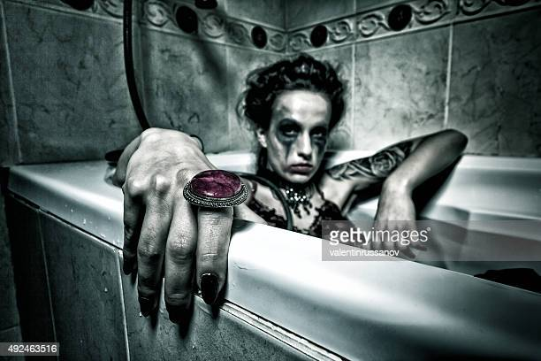 halloween theme.scary girl in bath. - dead girl stock pictures, royalty-free photos & images