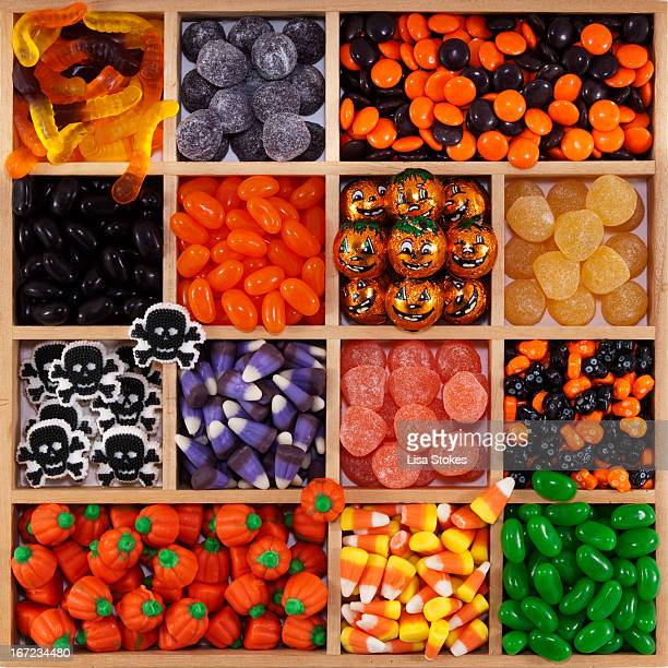 halloween tray - halloween candy stock photos and pictures