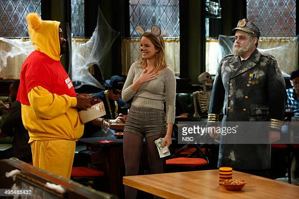 UNDATEABLE Halloween Walks Into a Bar Episode 305A Pictured Ron Funches as Shelly Bridgit Mendler as Candace David Fynn as Brett