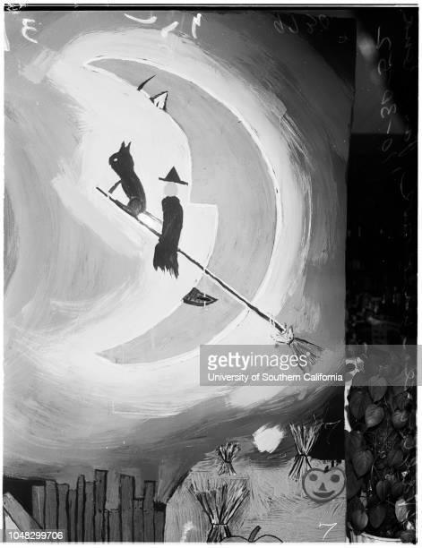 Halloween windows , 30 October 1952. Mrs B.A Manzer;Cindy Manzer - 5 years;Mrs Q.W Larkey;Nancy and Susan Larkey.;Caption slip reads: 'Photographer:...