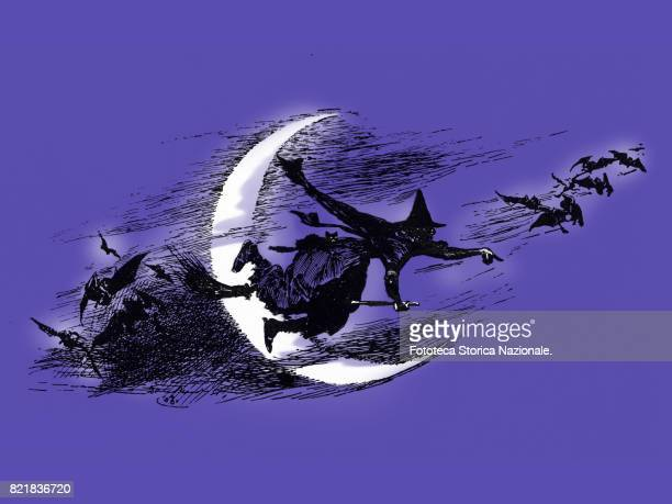 Halloween witch on a broomstick Digital illustration on the basis of a silhouette 1925