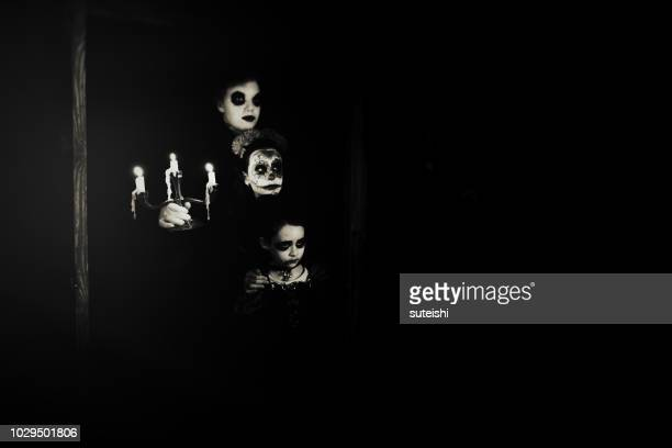 halloween with candleholder - scary setting stock photos and pictures
