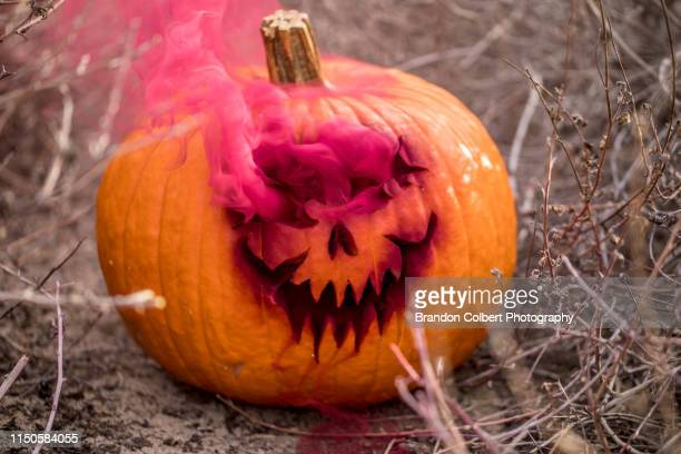 hallowen themed pumpkin with smoke grenade - ugly pumpkins stock photos and pictures