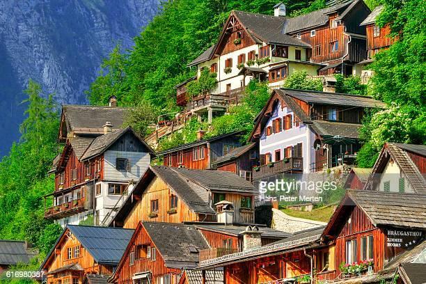 Hallstatt, houses in old town, Salzkammergut