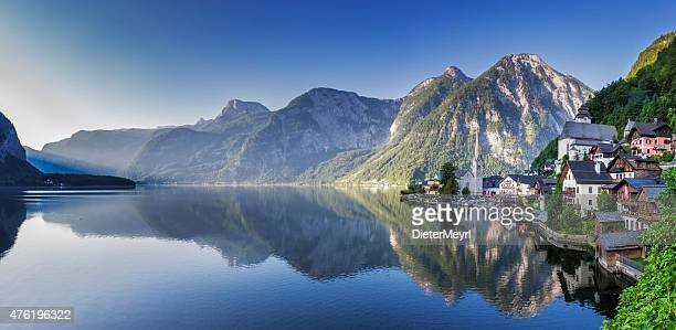 hallstatt panorama at early morning in springtime,  austria - hallstatt stock pictures, royalty-free photos & images