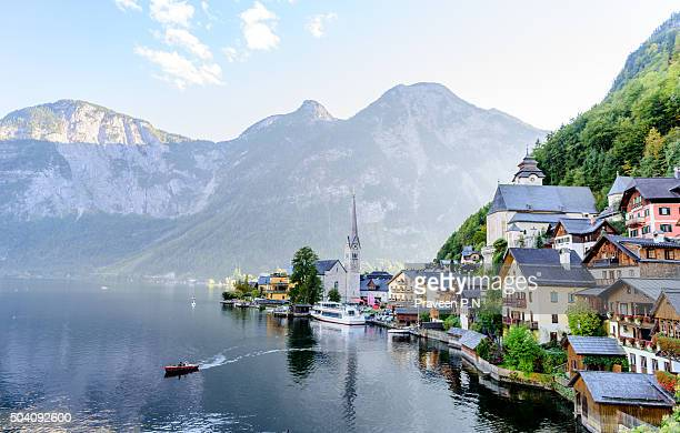 hallstatt postcard view - hallstatter see stock pictures, royalty-free photos & images