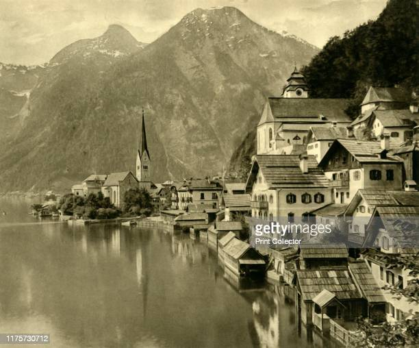 Hallstatt Upper Austria circa 1935 View of the village of Hallstatt on the shores of the Hallstätter See in the Gmunden region Salt was produced here...