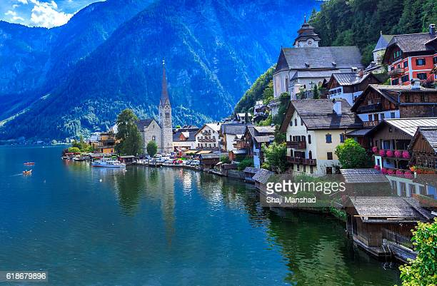hallstatt views - salzburger land stock pictures, royalty-free photos & images