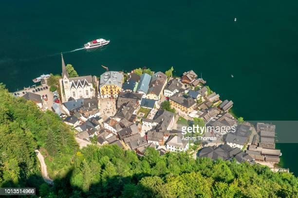 Hallstatt village, aerial view, Austria, Europe