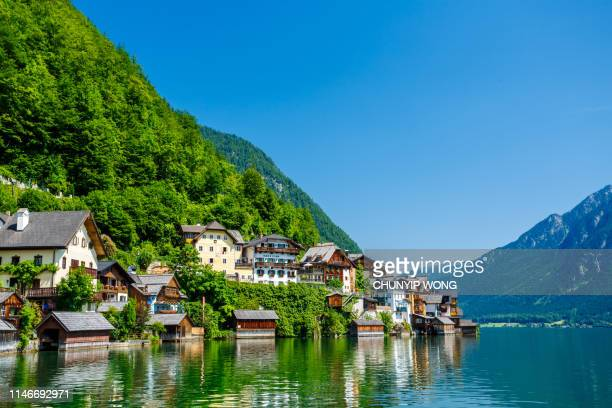 hallstatt village and hallstatter see lake in austria - upper austria stock pictures, royalty-free photos & images