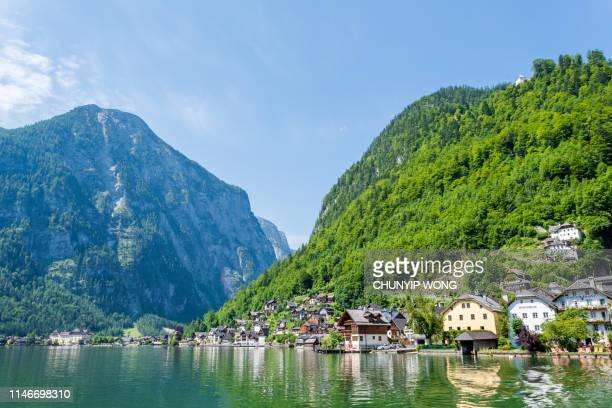 hallstatt village and hallstatter see lake in austria - hallstatter see stock pictures, royalty-free photos & images
