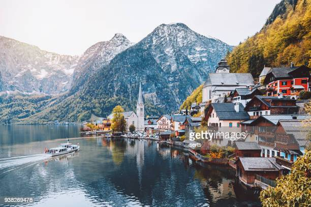 hallstatt village and hallstatter see lake in austria - traditionally austrian stock pictures, royalty-free photos & images