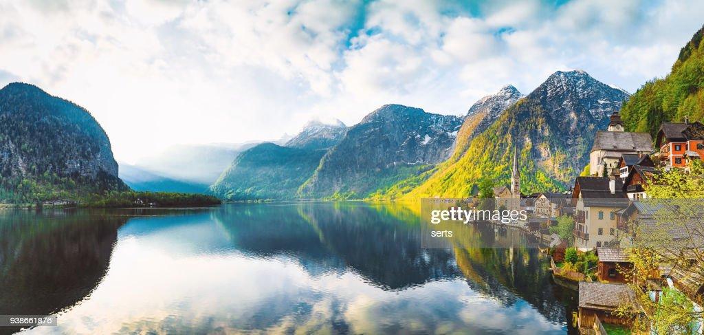 Hallstatt Village and Hallstatter See lake in Austria : Stock Photo