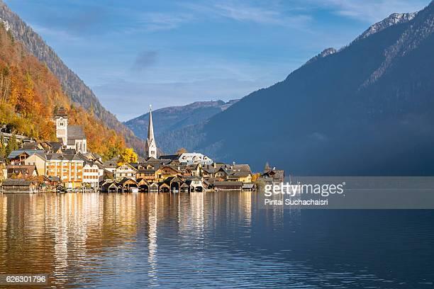 Hallstatt Village by the Lake in Autumn