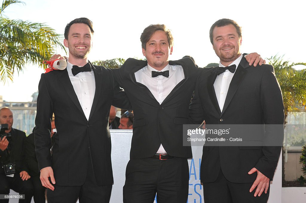 Hallvar WITZO, Director Simon Mesa Soto, winner of the Short Film Special Distinction for his film 'Leidi' and Clement TREHIN- LALANNE at the Winners photocall during 67th Cannes Film Festival