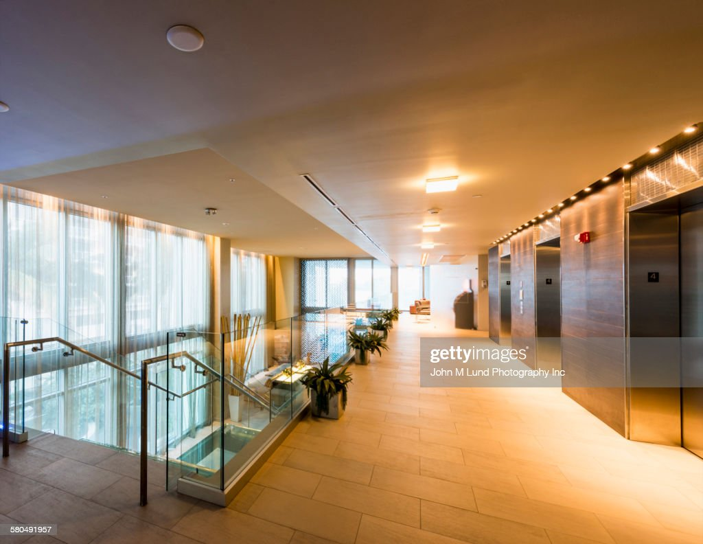 office hallway. Hallway And Staircase In Empty Modern Office : Stock Photo