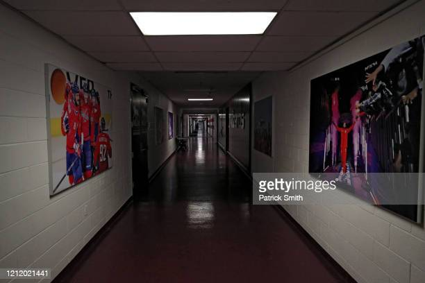 A hallway is empty prior to the Detroit Red Wings playing against the Washington Capitals at Capital One Arena on March 12 2020 in Washington DC...