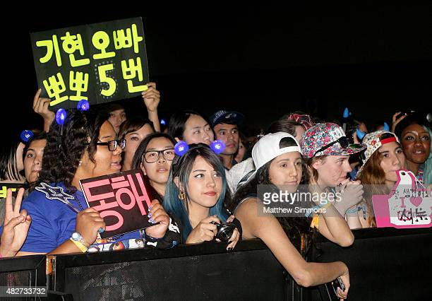 Hallyu fans attend KCON 2015 at the Los Angeles Convention Center on August 1 2015 in Los Angeles California KCON is an annual KPop convention held...